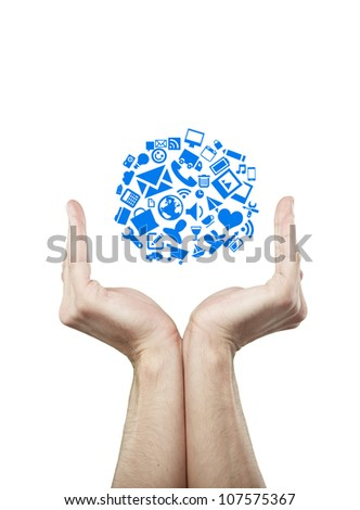 social media icons in hands, isolated - stock photo