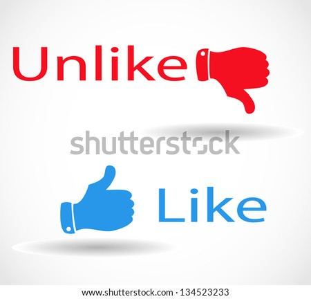 """Social media icons """"like"""" and """"unlike"""" with thumbs - stock photo"""
