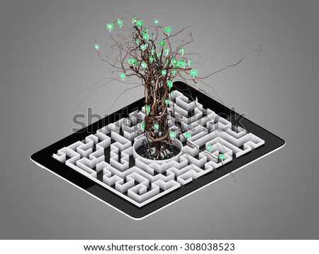 Social media icons set in tree shape on Maze in the tablet., concept - stock photo