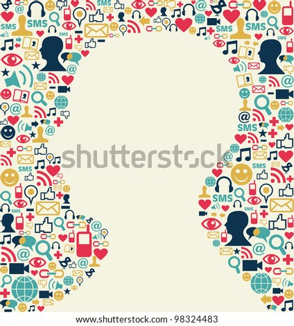 Social media icons texture background with man head silhouette shape. - stock photo