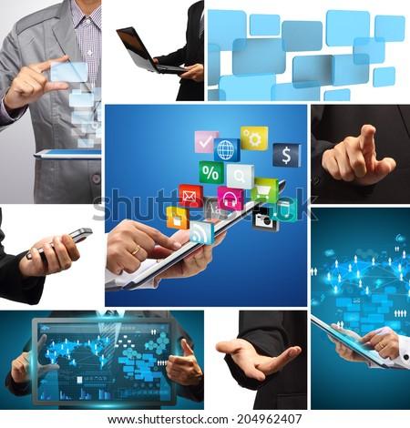 Social media idea concept, Business innovation technology creative communication virtual networking information digital data process diagram modern design layout template - stock photo