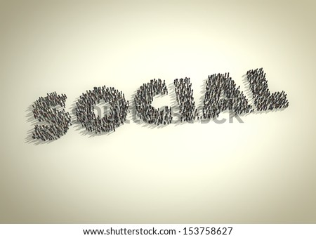Social media illustration showing a crowd of people interacting as a group and forming the word 'social'. - stock photo