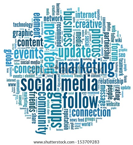 Social Media in word collage - stock photo