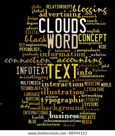social media info-text graphics and arrangement concept on black background (word clouds) - stock photo