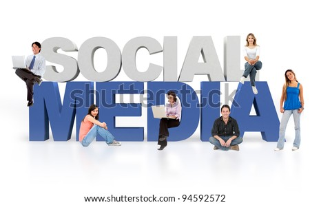Social media isolated over a white background - 3D text - stock photo