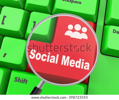 Social media keyboard button , 3d rendering - stock photo