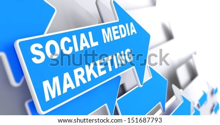 "Social Media Marketing.  Business Concept. Blue Arrow with ""Social Media Marketing"" slogan on a grey background. 3D Render. - stock photo"