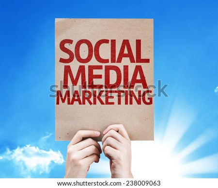 Social Media Marketing card with beautiful day - stock photo