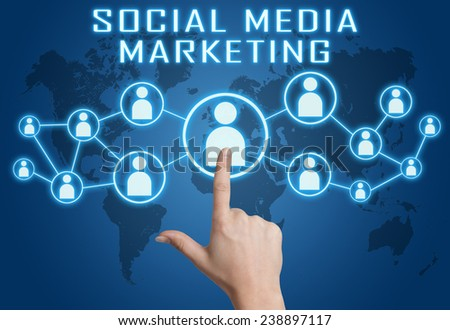 Social Media Marketing concept with hand pressing social icons on blue world map background. - stock photo