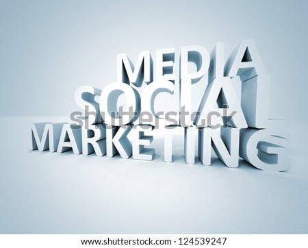 Social media marketing 3d text - stock photo