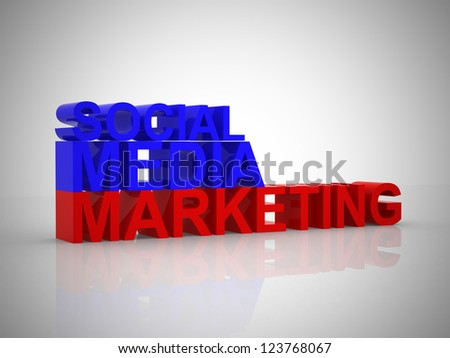 Social media marketing illustration - 3d render - stock photo