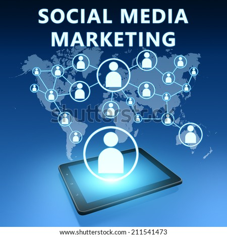 Social Media Marketing illustration with tablet computer on blue background - stock photo