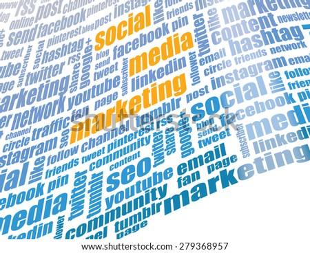 Social media marketing tag cloud - stock photo