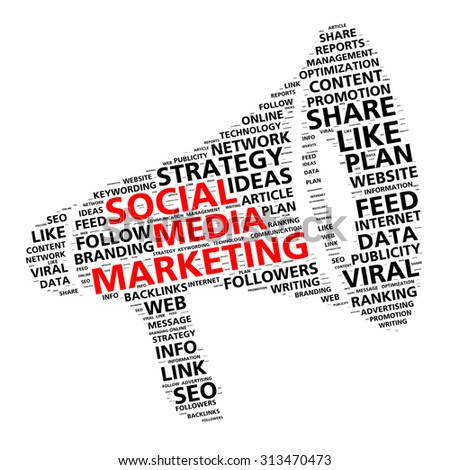 Social media marketing word cloud in the shape of a megaphone for content promotion - stock photo