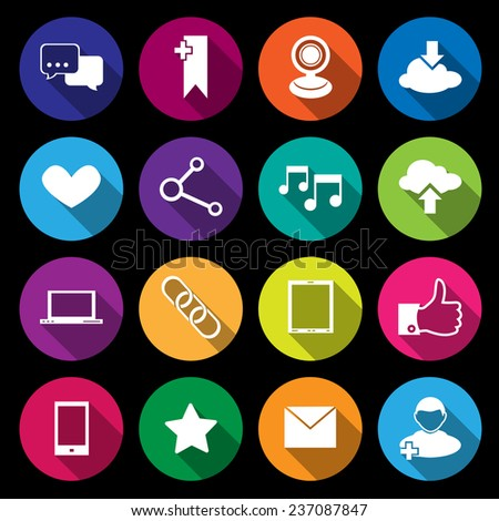 Social media network application icons flat round buttons set isolated  illustration - stock photo