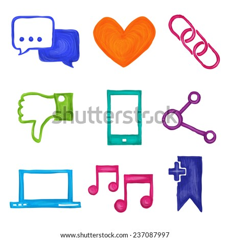 Social media network application icons painted set isolated  illustration - stock photo