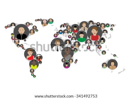 Social media network, connection concept, business concept, avatar set. Raster illustration - stock photo