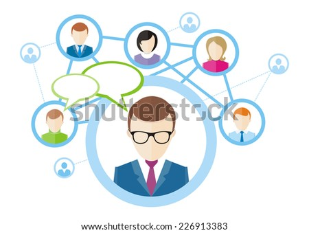 Social media network connection concept. People in a social network. Concept for social network in flat design. Globe with many different people's faces. Raster version - stock photo