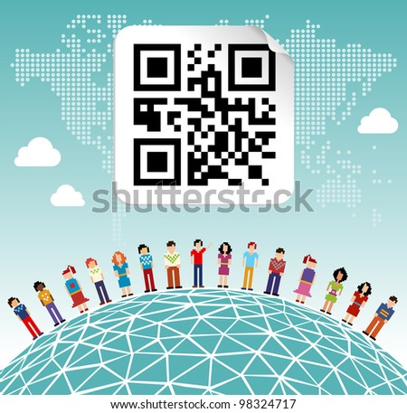 Social media network connection concept with social QR code and World map background - stock photo