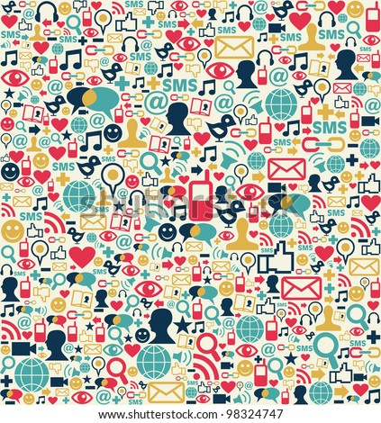 Social media network icon set seamless texture pattern background - stock photo