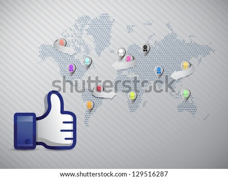 social media network thumb up illustration design over a white background - stock photo