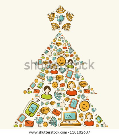 Social media networks icon set in Christmas pine tree. - stock photo