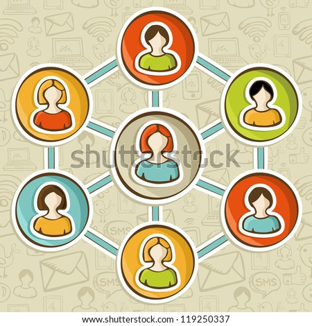 Social media networks web marketing connection diagram. - stock photo
