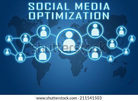 Social Media Optimization concept on blue background with world map and social icons. - stock photo