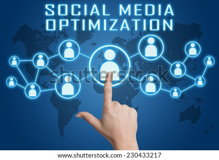 Social Media Optimization concept with hand pressing social icons on blue world map background. - stock photo