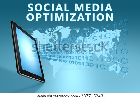 Social Media Optimization illustration with tablet computer on blue background - stock photo