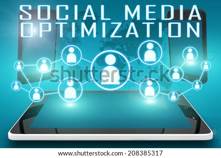 Social Media Optimization - text illustration with social icons and tablet computer and mobile cellphones on cyan digital world map background - stock photo