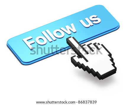 Social media or social network concept: Hand-shaped mouse cursor press Follow Us button on white background - stock photo