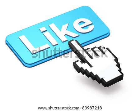 Social media or social network concept: Like button isolated on white background - stock photo
