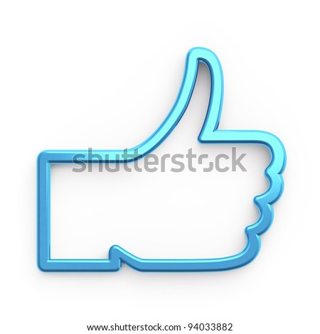 Social media or social network concept: Like symbol on white background,  3d render - stock photo