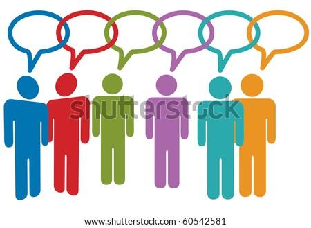 Social media people talk in speech bubble chain of links. - stock photo