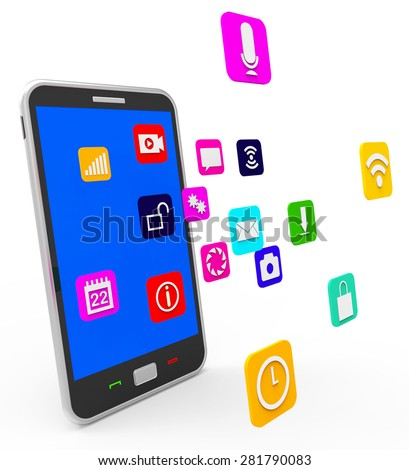 Social Media Phone Showing Application Software And Forums - stock photo