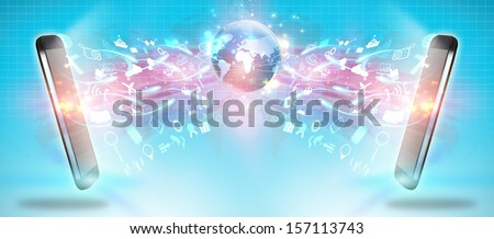 Social media,social network concept,communication - stock photo