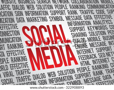 Social media, social network word cloud, business concept - stock photo