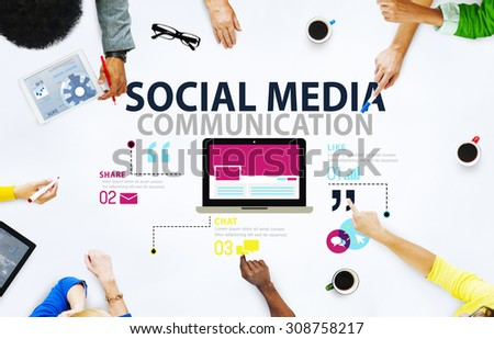 Social Media Social Networking Technology Connection Concept - stock photo