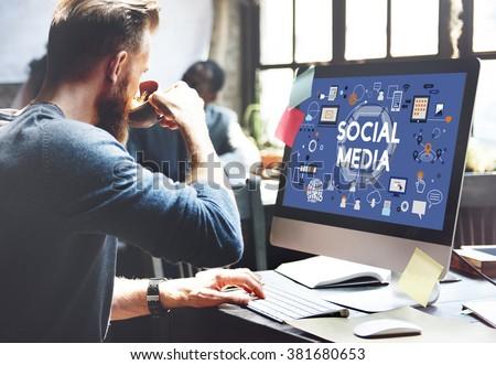 Social Media Social Networking Technology Innovation Concept - stock photo