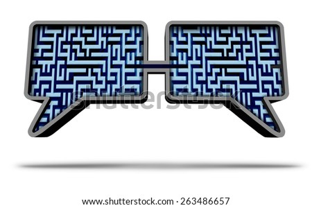 Social media solution group as two speech bubbles made with a maze or labyrinth pattern connected together as a communication success concept on a white background. - stock photo