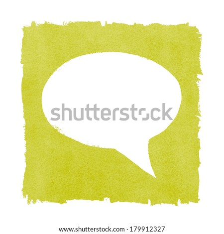 Social Media Speech Bubble Painted Green Box Frame - stock photo