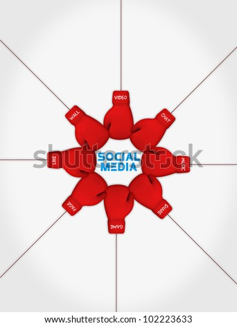 social media sporting in different concepts - stock photo