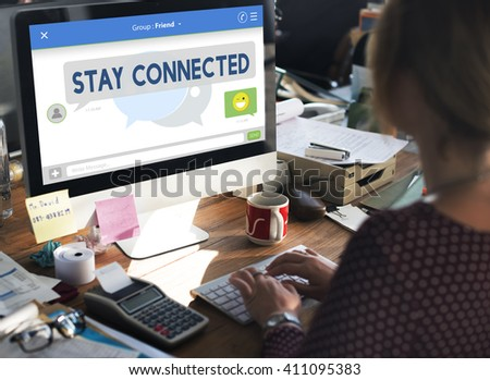 Social Media Stay Connected Concept - stock photo