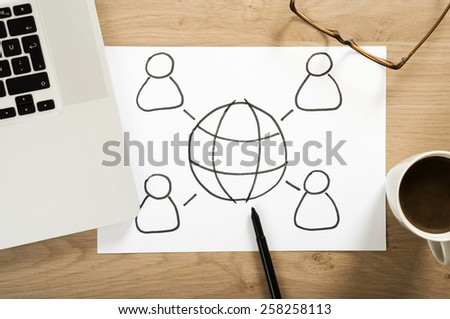 social media strategy plan on the office desk - stock photo
