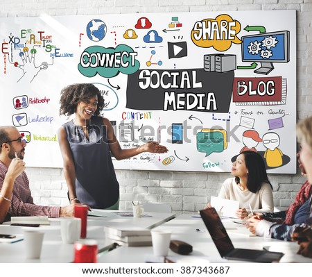 Social Media Technology Global Communication Concept - stock photo