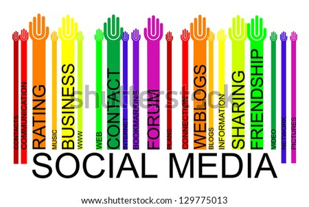 SOCIAL MEDIA text bar-code, - stock photo