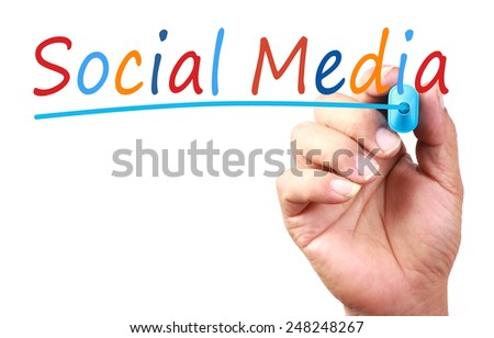 Social Media text with line written on transparent whiteboard. - stock photo