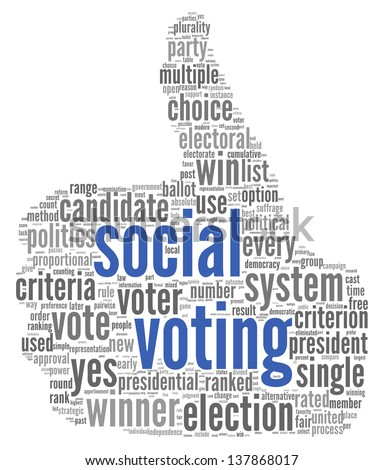 Social media voting  concept in word tag cloud on white background - stock photo