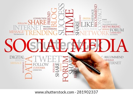 Social Media word cloud, business concept - stock photo